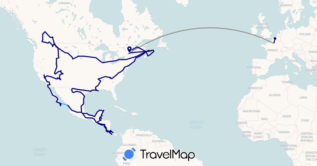 TravelMap itinerary: driving, plane, train, boat in Belize, Canada, Costa Rica, France, Guatemala, Mexico, Nicaragua, Panama, El Salvador, United States (Europe, North America)